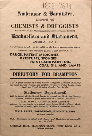 Directory for Brampton, 1873 -1874, 1972